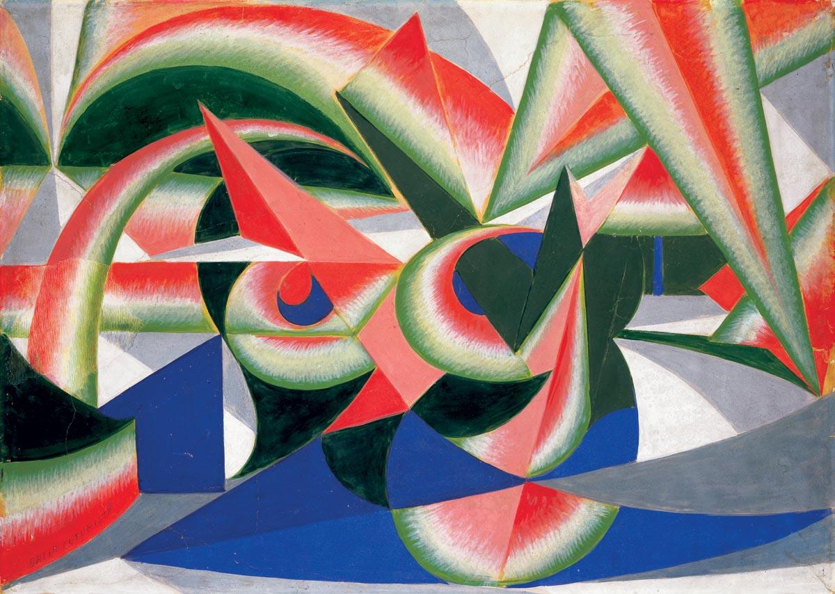 Giacomo Balla, Forze di paesaggio + cocomero, 1917 1918, tempera su carta intelata