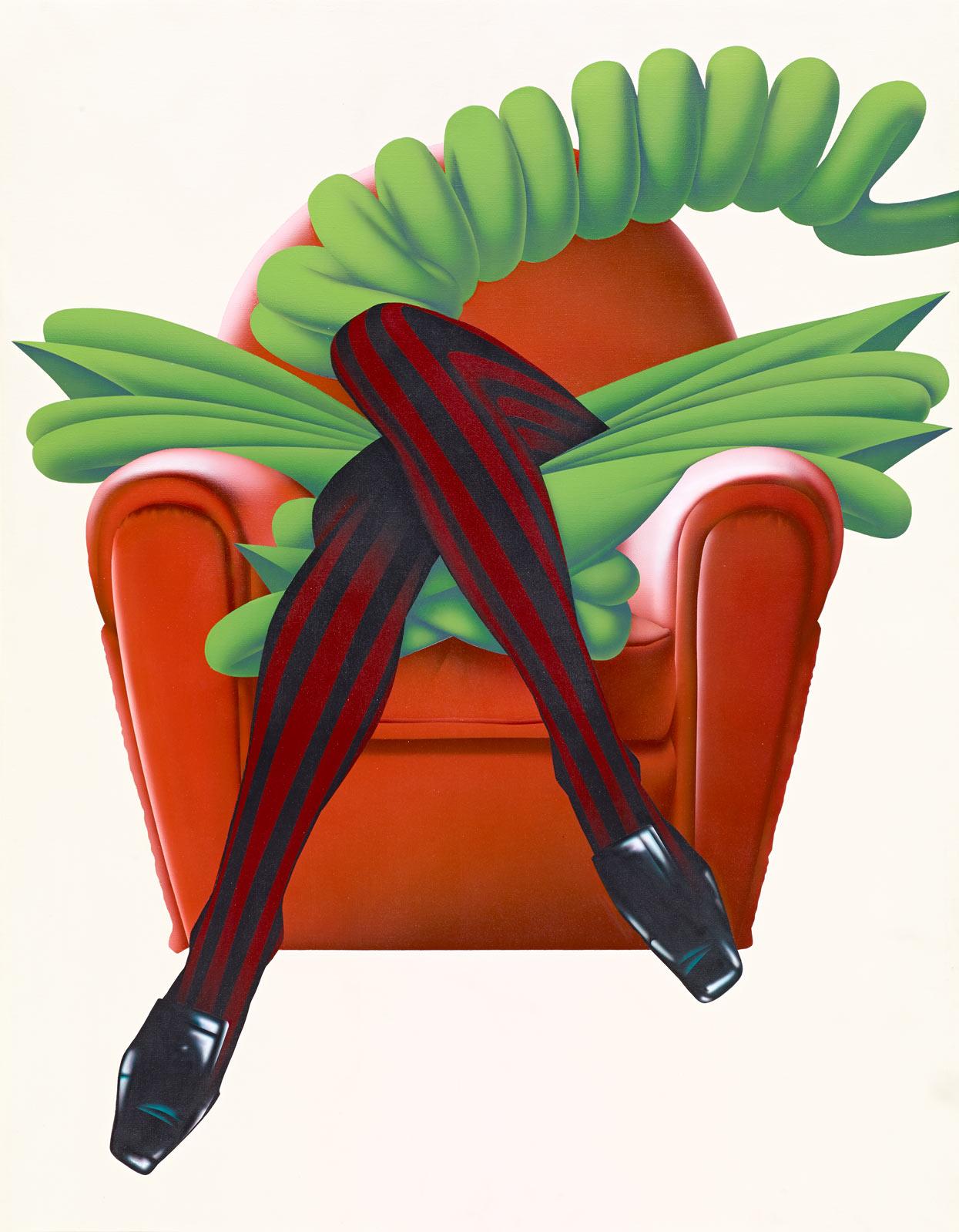 Umberto Mariani, Babette au telephone, 1968, acrilico su tela