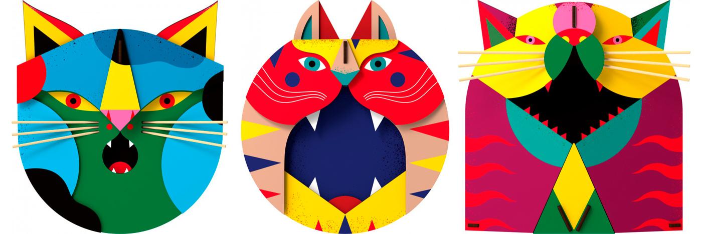 i gatti che camilla falsini ha disegnato per lo shop Miho, design contemporaneo
