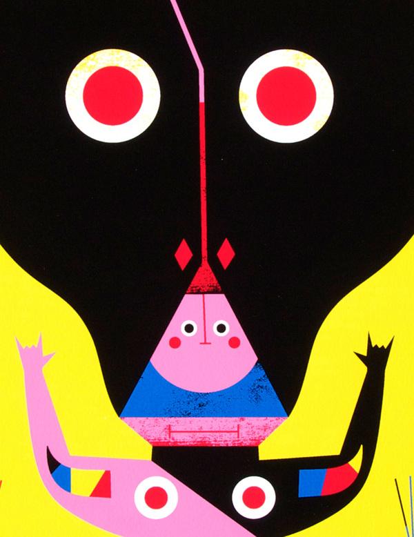 un disegno di Camilla Falsini con un mostro umanoide a forma di toro. poche campiture di colore, netto e bold.