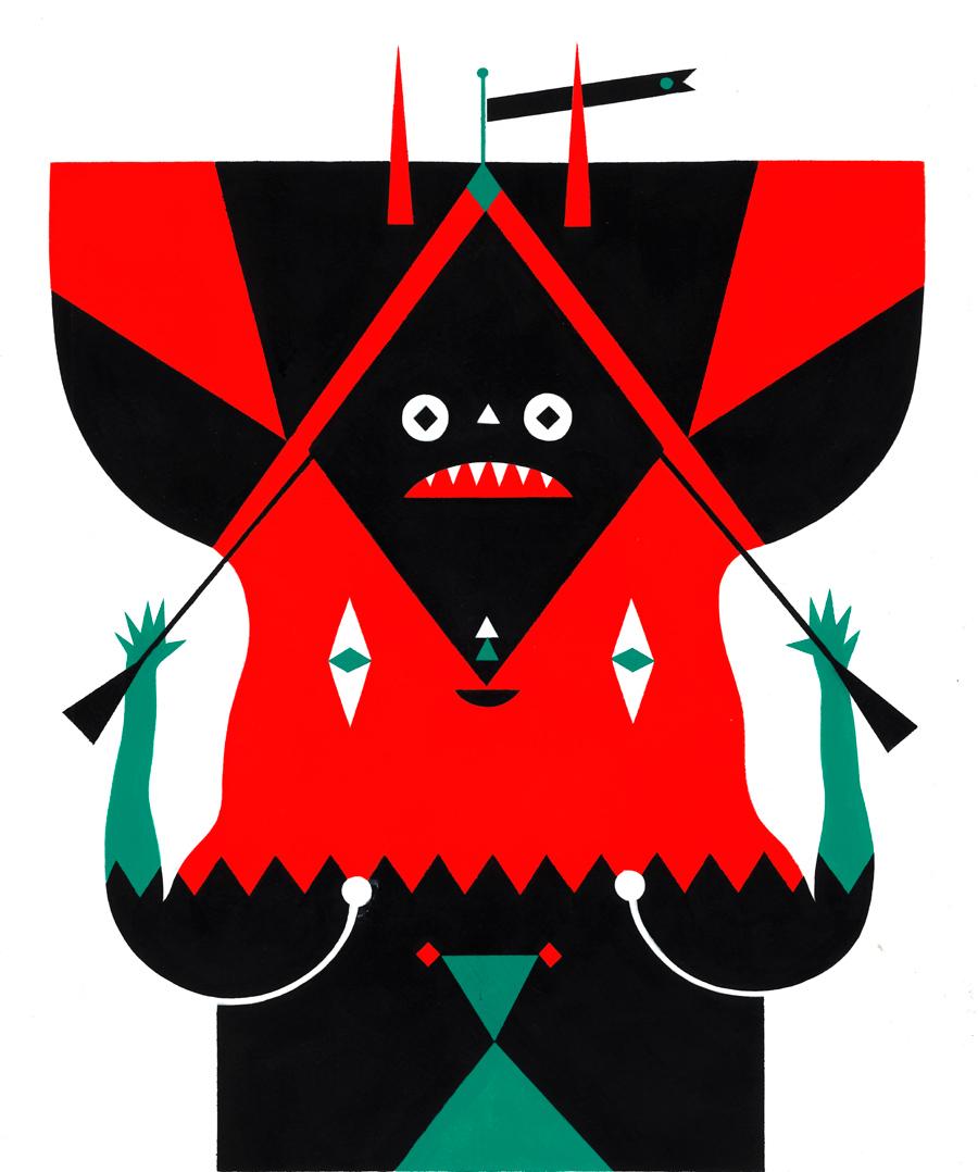 un mostro rosso e nero
