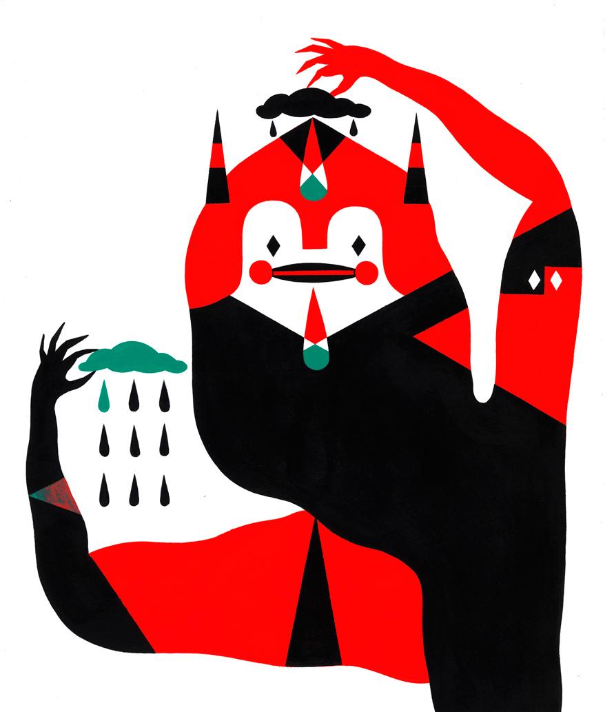 l'illustrazione di un mostro minimalista ispirato a depero, a cura di Camilla Falsini