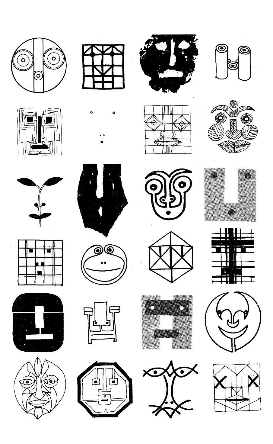 tavola di bruno munari con sketch di figure e visi antropomorfi