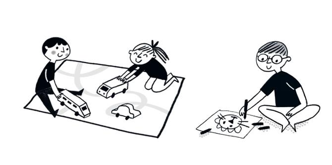 illustrazione di bambini che giocano in compagnia