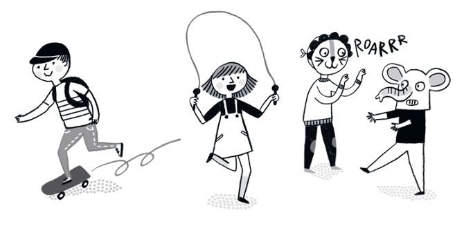 illustrazione di bimbi che si divertono in compagnia
