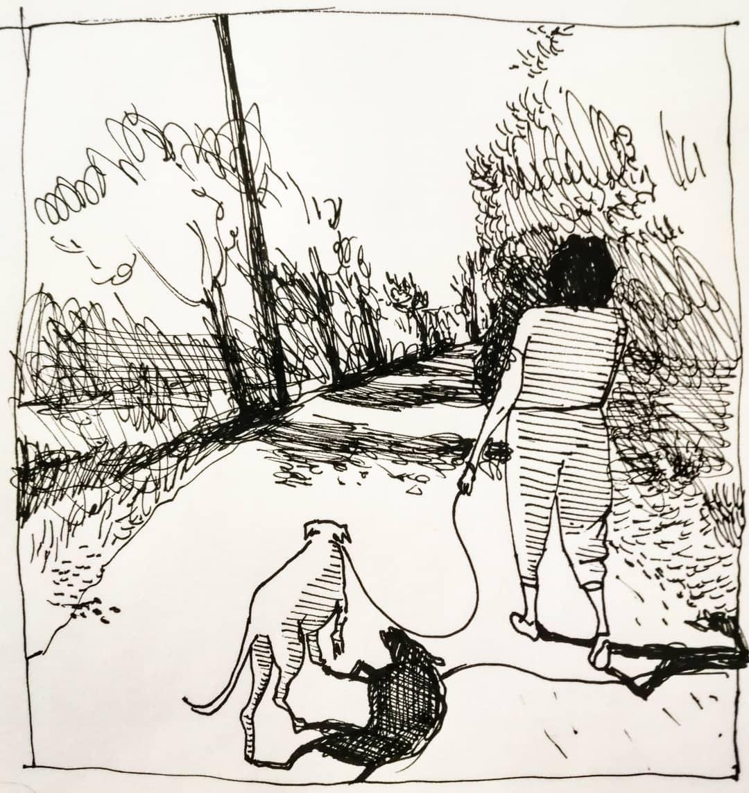disegno a matita con donna e cane